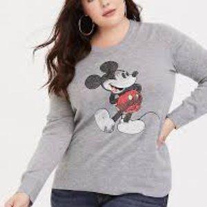 Torrid Disney Mickey 90th Sequin Pullover Grey 4
